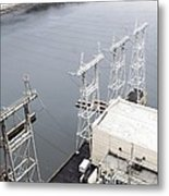 Electricity Pylons At Hydroelectric Dam Metal Print
