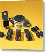 Electronic Circuit Board Components Metal Print