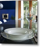 Elegant Place Setting In A Dining Room Metal Print by Marlene Ford