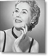 Elegant Woman Posing In Studio, (b&w), Portrait Metal Print