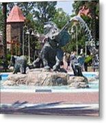 Elephant Fountain Metal Print