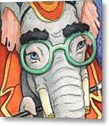 Elephant In Glasses Metal Print