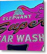 Elephant Super Car Wash Boost Metal Print