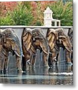 Elephants Of The Mandir Metal Print