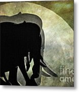 Elephants On Moonlight Walk 2 Metal Print