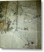 Elk Activity On A Winter Day Metal Print