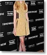 Elle Fanning Wearing A Rodarte Dress Metal Print by Everett