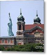 Ellis Island And Statue Of Liberty Metal Print