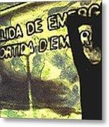 Emergency Exit - Arte Silueta Tren Metal Print