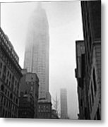 Empire State Building In Fog Metal Print by Adam Garelick