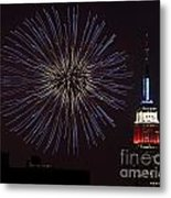 Empire State Fireworks Metal Print by Susan Candelario