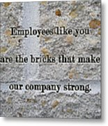 Employee Service Anniversary Thank You Card - Cement Wall Metal Print