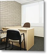 Empty Desk In An Office Metal Print by Skip Nall