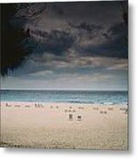 Empty Lounge Chairs Litter A Quiet Metal Print