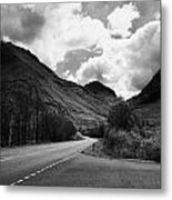 Empty Main Road Through Glencoe Highland Scotland Uk Metal Print by Joe Fox