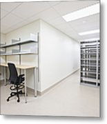 Empty Metal Shelves And Workstations Metal Print