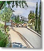 Empty Road Sketchbook Project Down My Street Metal Print by Irina Sztukowski