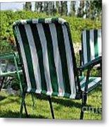 Empty Seats On Garden Lawn Metal Print