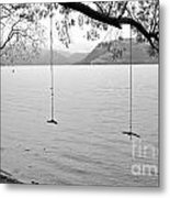 Empty Swings In The Rain Metal Print