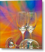 Empty Wine Glass Metal Print by Anuwat Ratsamerat