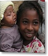 Enfants A Madagascar Metal Print by Francoise Leandre