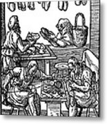 Engraving Of Cobblers Making Leather Shoes. Metal Print