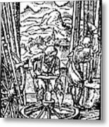 Engraving Of Wheel Manufacture In The 16th Century Metal Print