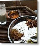 Enjoying A Plate Of Rajasthani Food On A Steel Plate On A Bamboo Table Metal Print