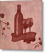 Enjoying Red Wine  Painting With Red Wine Metal Print by Georgeta  Blanaru