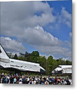 Enterprise And Discovery Metal Print by Lawrence Ott