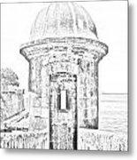 Entrance To Sentry Tower Castillo San Felipe Del Morro Fortress San Juan Puerto Rico Bw Line Art Metal Print