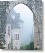 Entryway To St Cirq In The Fog Metal Print