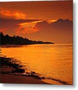 Epic Sunset In The Tropical Maldivian Island Metal Print