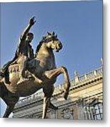 Equestrain Statue Of Emperor Marcus Aurelius In Piazza Del Campidoglio.capitoline Hill. Rome. Italy. Metal Print by Bernard Jaubert