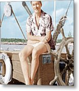 Errol Flynn Relaxing On His Yacht, Ca Metal Print