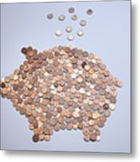 Euro Coins Falling Into A Piggy Bank Made From Arranged European Coins Metal Print by Larry Washburn
