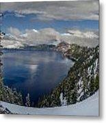 Evening At Crater Lake Panorama Metal Print