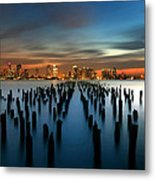 Evening Sky Over The Hudson River Metal Print