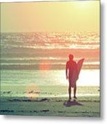 Evening Surfer Metal Print