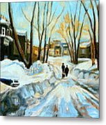 Evening Winter Walk Streets Of Montreal After The Snowstorm Metal Print