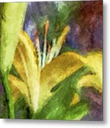 Exotic Lily In Oil Metal Print