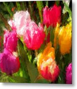 Expressionistic Spring Tulip Explosion Metal Print