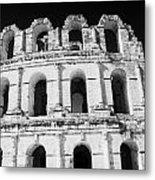 External View Of Three Upper Tiers Of Archways Of Old Roman Colloseum El Jem Tunisia Metal Print