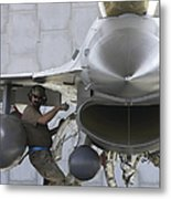 F-16 Fighting Falcon Is Ready To Head Metal Print