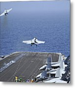Fa-18f Super Hornets Launch Metal Print by Stocktrek Images