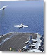 Fa-18f Super Hornets Launch Metal Print