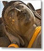 Face Of A Reclining Buddha Metal Print