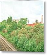 Factory And Trainlines Metal Print