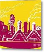 Factory Building Power Plant Retro Metal Print by Aloysius Patrimonio