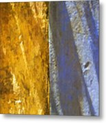 Faded Yellow And Blue Plaster Walls Meet Metal Print